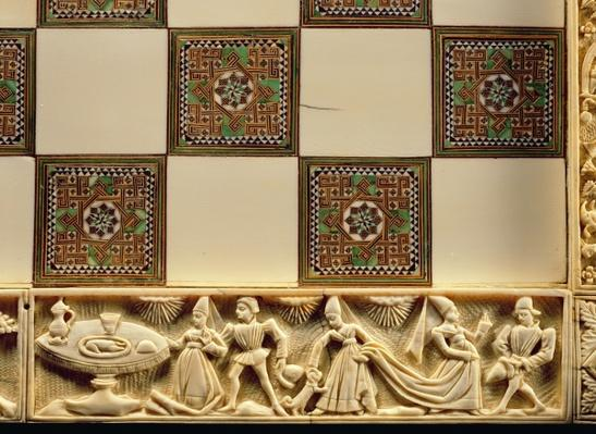 Border of a chessboard depicting courtly life, 1415