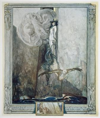 Illustration from Dante's 'Divine Comedy', Inferno, Canto IX. 28, 1921