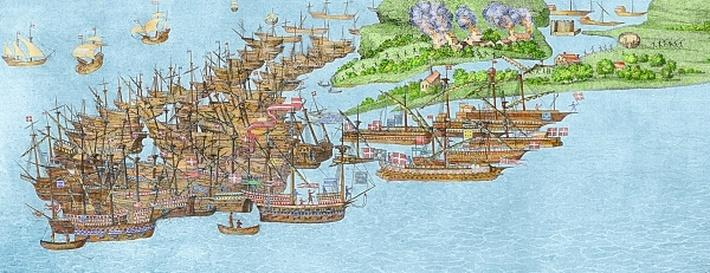The French fleet becalmed and the attack on the Isle of Wight, 1545