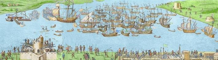 The Encampment of the English Forces near Portsmouth during the Battle of the Solent