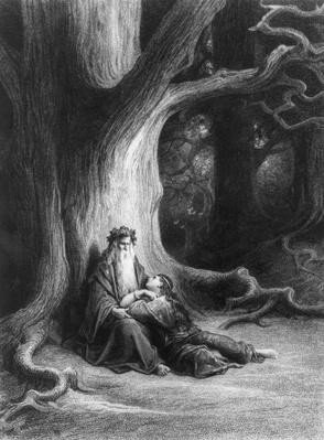 The Enchanter Merlin and the Fairy Vivien in the forest of Broceliande, from 'Vivien', poem by Alfred Tennyson