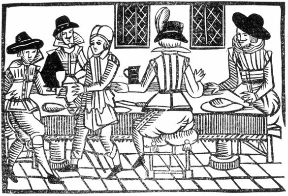 A Supper Party, from a 'Book of Roxburghe Ballads'