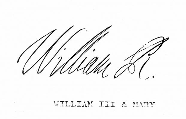 Signature of William III of England, from 'The National and Domestic History of England' by William Hickman Smith Aubrey