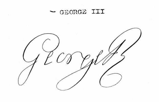 Signature of King George III