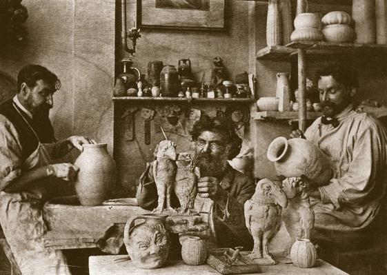 The Martin brothers in the studio at the Southall Pottery