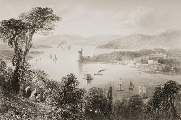 The Cork River from below Glanmire Road, County Cork, Ireland, from 'Scenery and Antiquities of Ireland' by George Virtue, 1860s