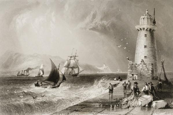 South Wall Lighthouse with Howth Hill in the Distance, Dublin, from 'Scenery and Antiquities of Ireland' by George Virtue, 1860s