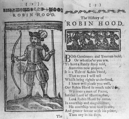 Frontispiece and opening lines to 'The History of Robin Hood'