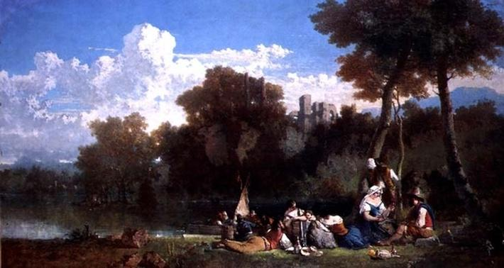 Figures Picnicing by a River, 19th century