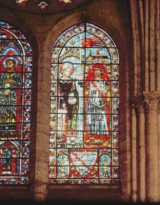 Saint Denis gives the oriflamme to Clement, Marechal de Metz