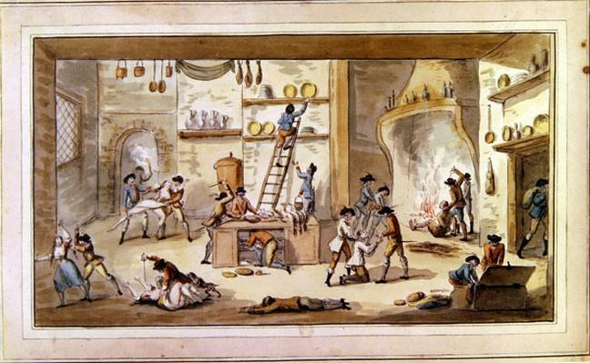 Sacking a farm during the period of the French Revolution