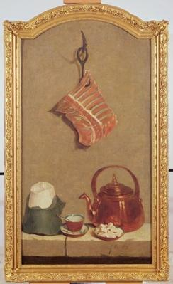 Still Life with meat, kettle, cup, sugar loaf and sugar lumps