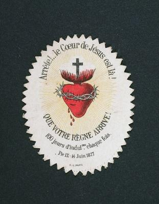 Devotional Image of the Heart of Jesus offering an Indulgence of 100 days