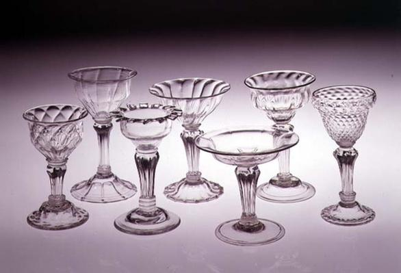 Collection of pedestal sweetmeal glasses