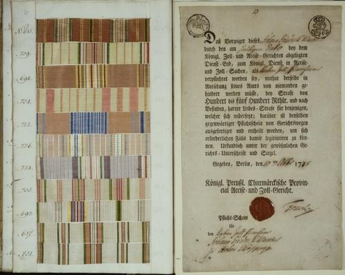 Campaign ribbons and record of duty for a solider in the Royal Prussian Army, 1778