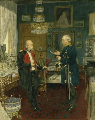 Bismarck with Emperor Wilhelm I in a room in the Unter den Linden palace, Berlin