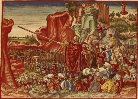 Moses parting the Red Sea, image from the Luther Bible