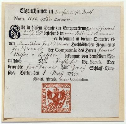 Billeting voucher, 1759