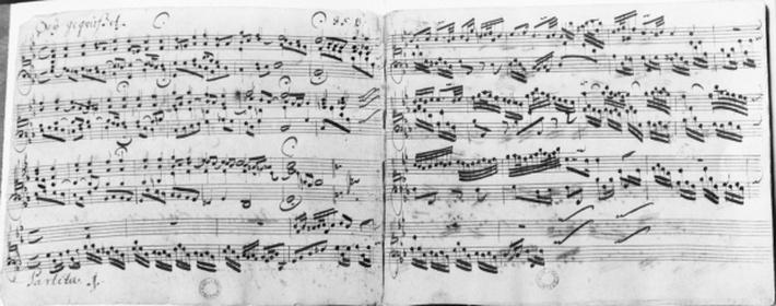 Autograph of the partita 'Sei gegruesset, Jesu guetig'