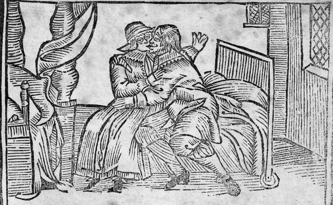 Couple Kissing, illustration from the 'Roxburghe Ballads'