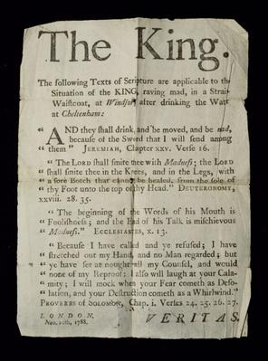 Broadsheet discussing the Madness of King George III, 1788