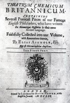 Titlepage to 'Theatrum Chemicum Britannicum' by Elias Ashmole, 1652
