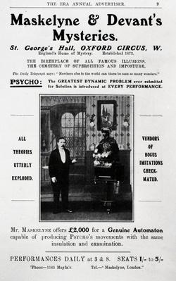 Advertisement for Maskelyne & Devant's Mysteries