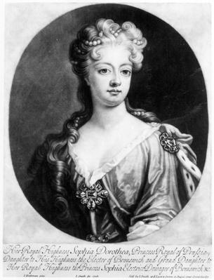 Sophia Dorothea, Queen of Prussia, engraved by John Smith, 1706