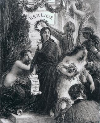 Engraving dedicated to the memory of Hector Berlioz, 1869