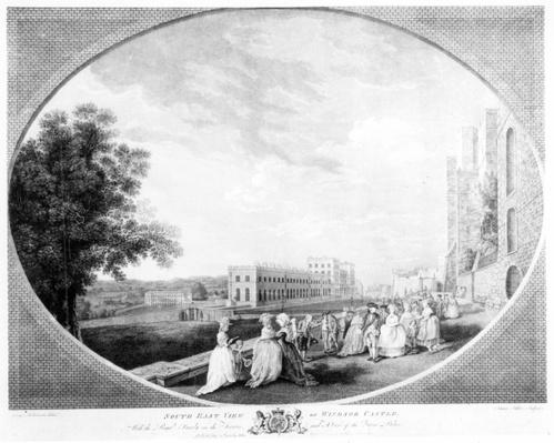 South East view of Windsor Castle, with the Royal Family on the terrace and a view of the Queen's Palace, engraved by James Fittler, 1783