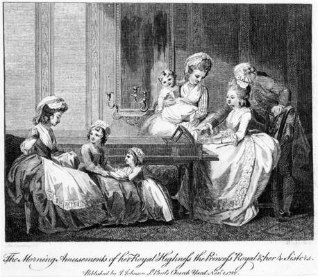 The Morning Amusements of her Royal Highness the Princess Royal and her 4 Sisters, 1782