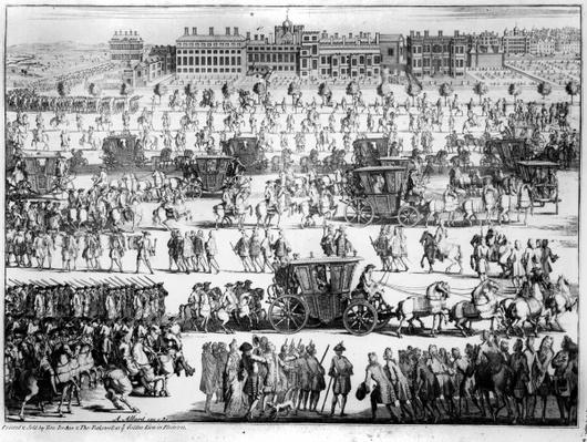 King George I procession to St. James's Palace, 20th September 1714, engraved by Abraham Allard