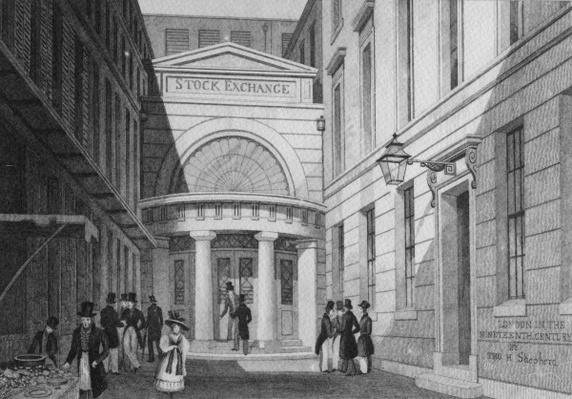 Stock Exchange, London, from 'Metropolitan Improvements; or London in the nineteenth century', c.1828