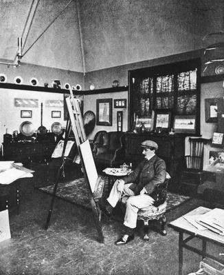 Cecil Aldin in his studio
