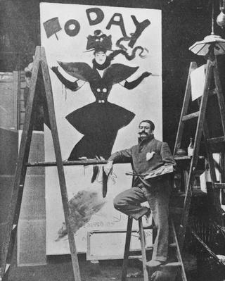 Dudley Hardy painting a poster for the magazine journal 'Today', c.1890s