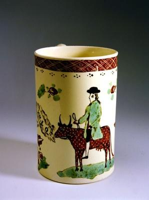 Earthenware mug with cow and rider, 1770
