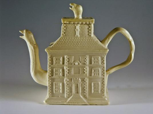 White teapot in the shape of a house, c.1750