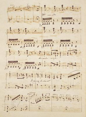 Manuscript page from the score of 'Les Huguenots'