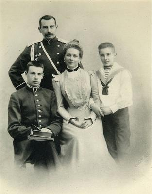Family portrait of Princess Zenaida Yusupova, Count Felix Sumarokov-Elston and sons Nikolai and Felix, from the studio of A. Pasetti