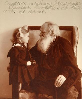 The author Leon Tolstoy with his granddaughter Tatiana in Yasnaya Polyana, 1910