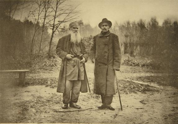 Leo Tolstoy and the author Maxim Gorky
