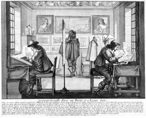 Plate engravers working with gallery behind, 1643