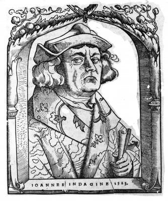 Portrait of John of Indagine, after Hans Baldung Grien, from 'Chiromantia' by Ioannes ab Indagine, Strasburg 1531, illustrated in 'History of Magic', published late 19th century