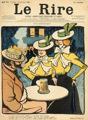 Half-sisters, from the front cover of 'Le Rire', 10th September 1898