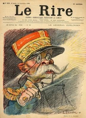 Caricature of General Zurlinden, from the front cover of 'Le Rire', 24th September 1898