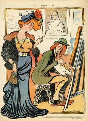 Phryne: caricature of an artist's model, from the back cover of 'Le Rire', 23rd February 1907