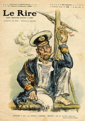 George V, 'The Simple', the first Midshipman of the Royal Navy, from the front cover of 'Le Rire', 28th May 1910