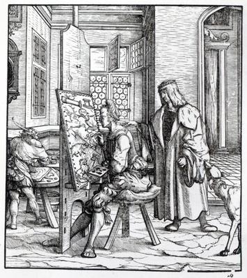 The Emperor in the Artist's Studio, illustration from 'Der Weisskunig', c.1509-18