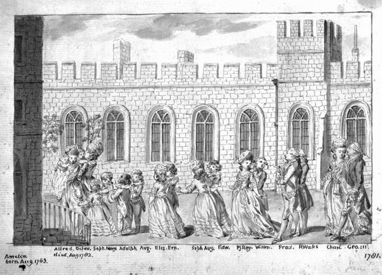 King George III and Queen Charlotte walking in procession with their fourteen children, 1781