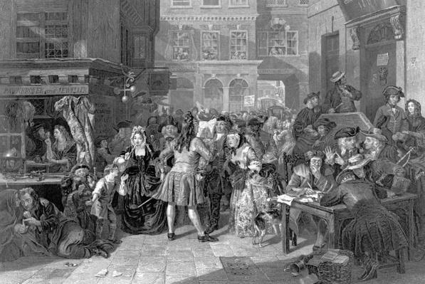 Scene in Change Alley during the South Sea Bubble, 1853
